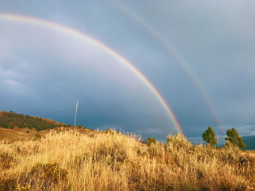 A double rainbow in Lamar Valley