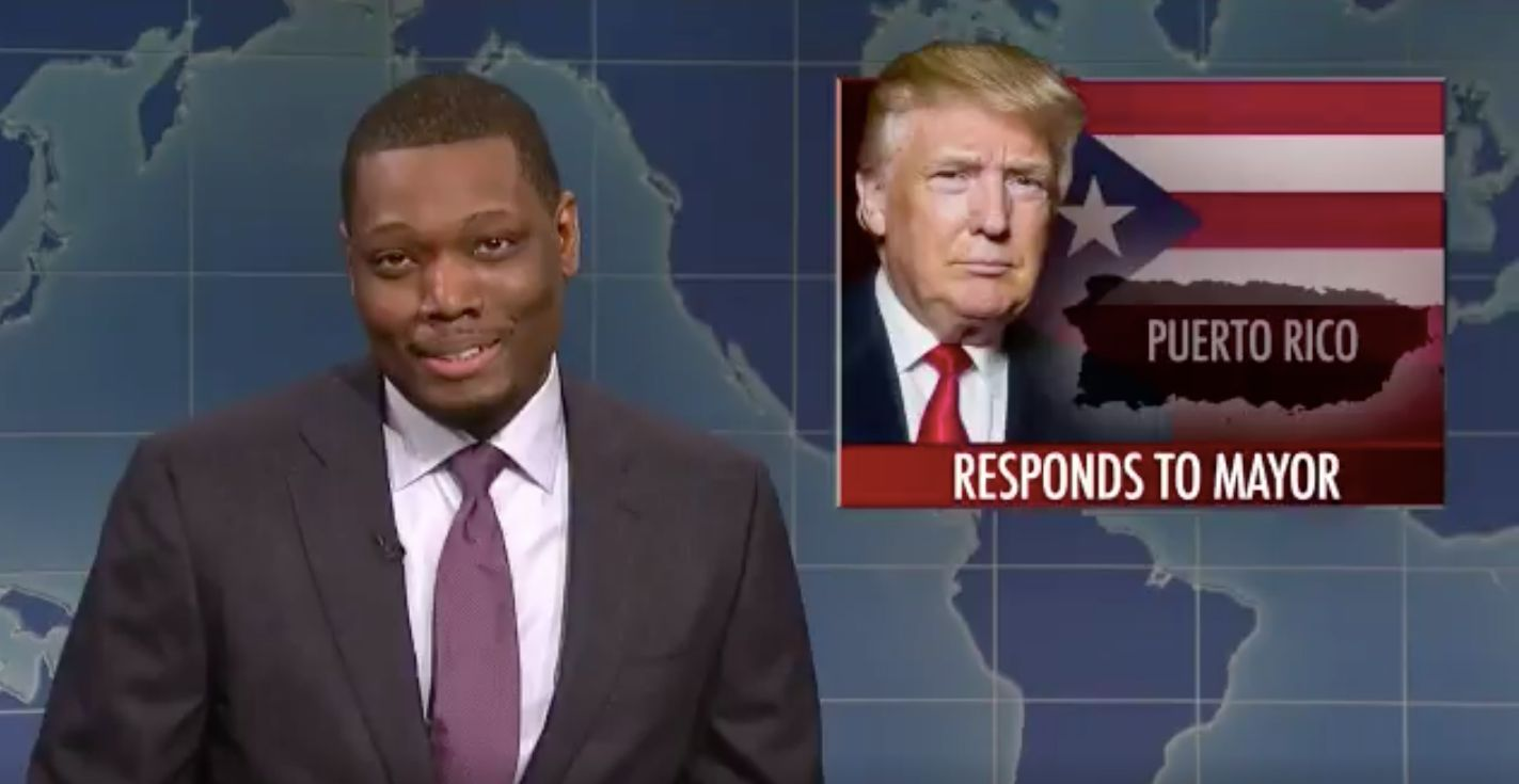 Weekend Update anchors Colin Jost and Michael Che blasted Trump during SNL class=
