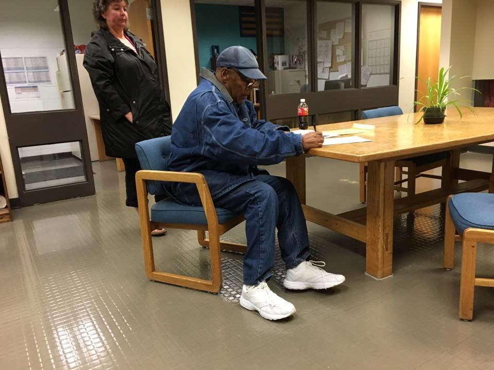O.J. Simpson signs documentation at Lovelock Correctional Center, Nevada, U.S. as he is released on parole, in this still picture released by Nevada Department of Corrections October 1, 2017.  Nevada Department of Corrections/Handout via REUTERS  ATTENTION EDITORS - THIS IMAGE HAS BEEN SUPPLIED BY A THIRD PARTY.      TPX IMAGES OF THE DAY
