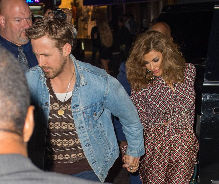 "Ryan Gosling and Eva Mendes at the ""SNL"" Season 43 after-party at Tao in New York City."