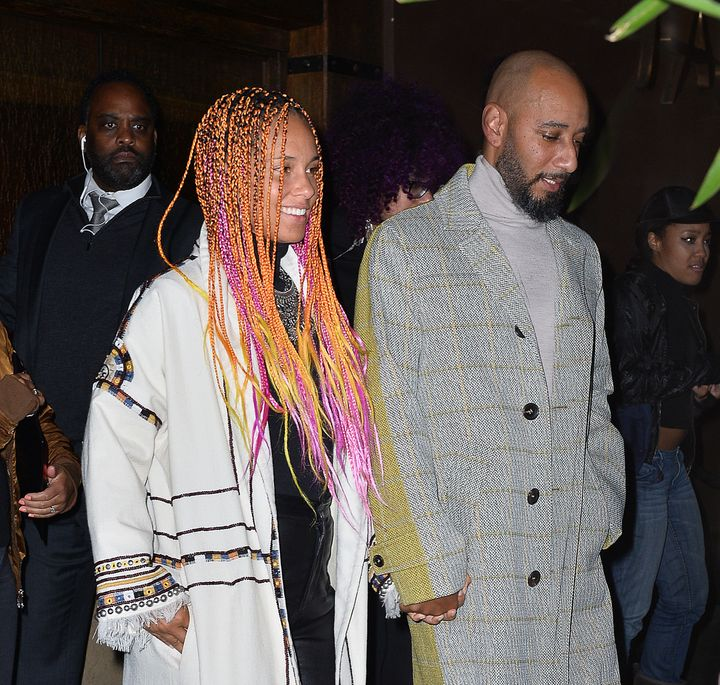 "Alicia Keys and Swizz Beatz at the ""SNL"" Season 43 after-party at Tao in New York City."