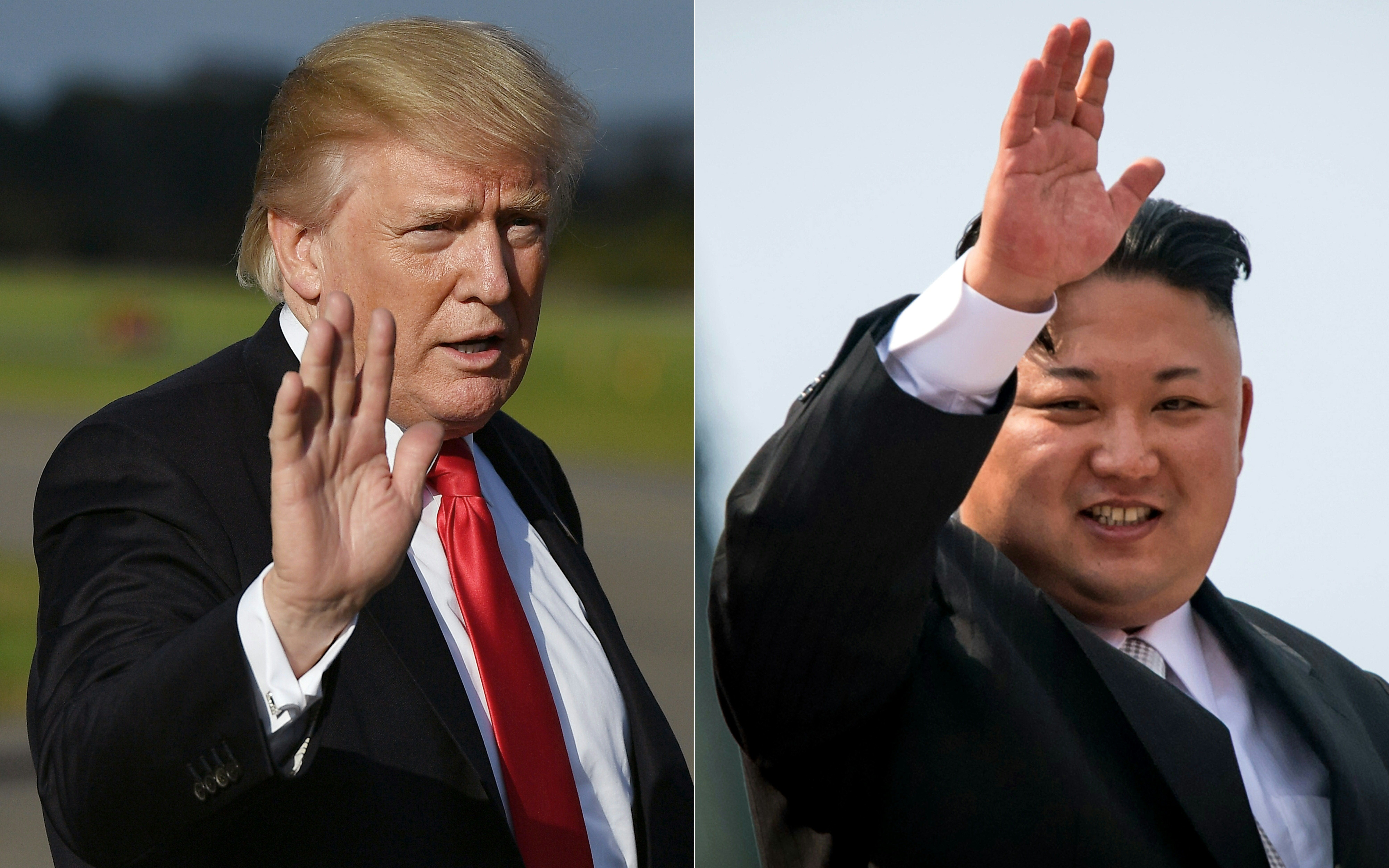 (COMBO) This combination of pictures created on October 1, 2017 shows, US President Donald Trump at Morristown, New Jersey, Municipal Airport on September 15, 2017; and North Korean leader Kim Jong-Un waving following a military parade in Pyongyang on April 15, 2017.  Trump said on October 1, 2017, negotiating with North Korea over its nuclear program would be a waste of time, after it emerged that Washington had channels of contact with Pyongyang. Only hours after US Secretary of State Rex Tillerson revealed that US officials were in touch with North Korean counterparts, Trump undercut his top diplomat by declaring on Twitter that any talks would be futile.     / AFP PHOTO / MANDEL NGAN AND ED JONES        (Photo credit should read MANDEL NGAN,ED JONES/AFP/Getty Images)
