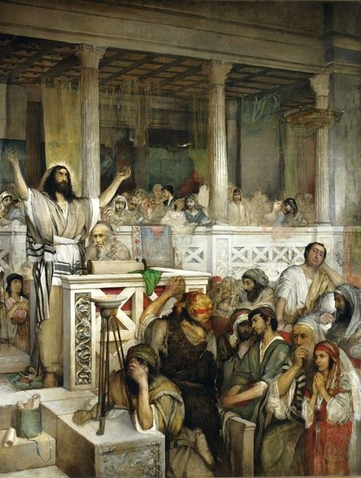 <em>Jesus Preaching at the Synagogue in Capernaum</em> by Maurycy Gottlieb