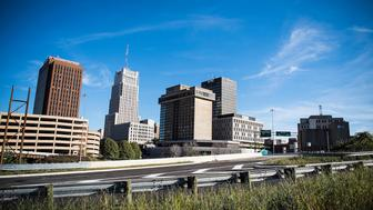 AKRON, OH - OCTOBER 1: The Akron, Ohio city skyline on Oct. 1, 2017. (Photo by Damon Dahlen/HuffPost) *** Local Caption ***