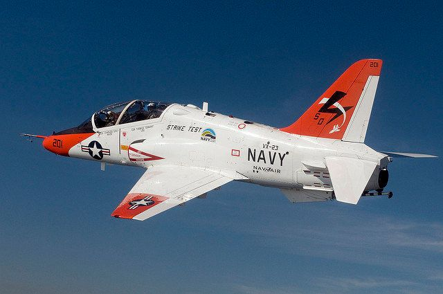 A T-45C Goshawk training aircraft assigned to the Salty Dogs of Air Test and Evaluation Squadron VX 23 conducts a test flight using a biofuel blend of JP-5 jet fuel and plant-based camelina