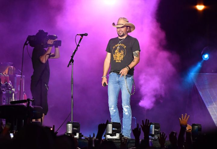 Jason Aldean was performing at the Route 91 Harvest country music festival in Las Vegas on Sunday night with someone beg