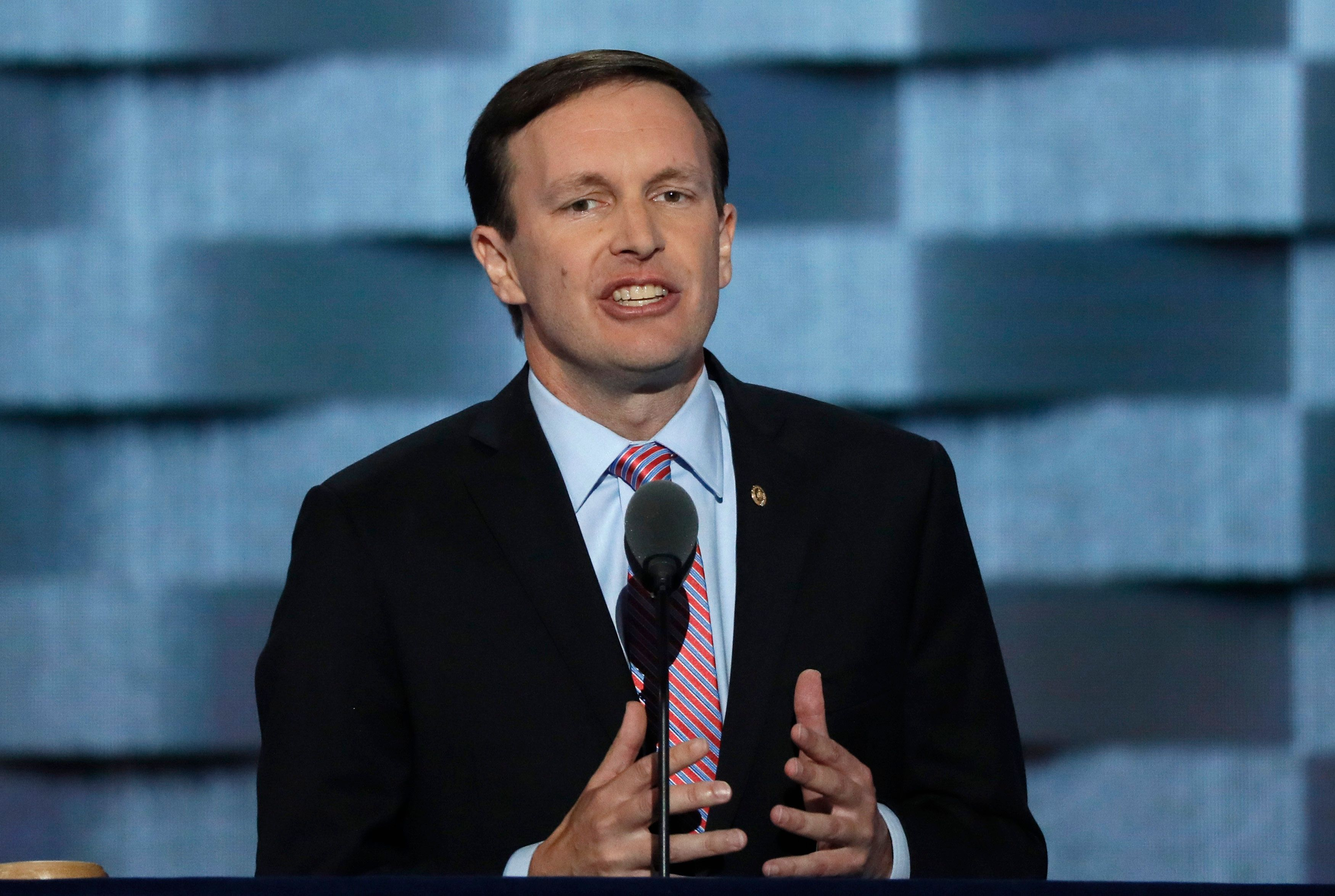 U.S. Senator Chris Murphy (D-CT) speaks on the third day of the Democratic National Convention in Philadelphia, Pennsylvania, U.S. July 27, 2016. REUTERS/Mike Segar
