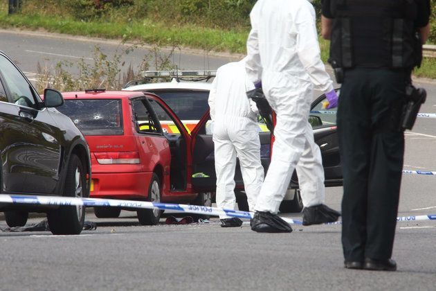 The scene on the road into Portishead, North Somerset where a man was shotduring a police