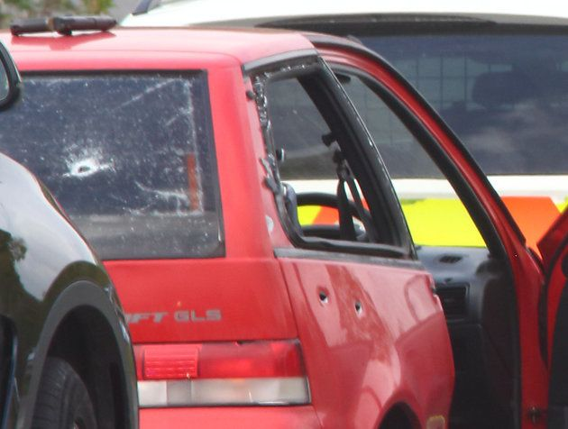 Ashworth was travelling in a red Suzuki Swift. A gun can be seen on the roof of the vehicle in this