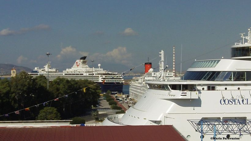 Cruise liners at the port of Piraeus, Greece.