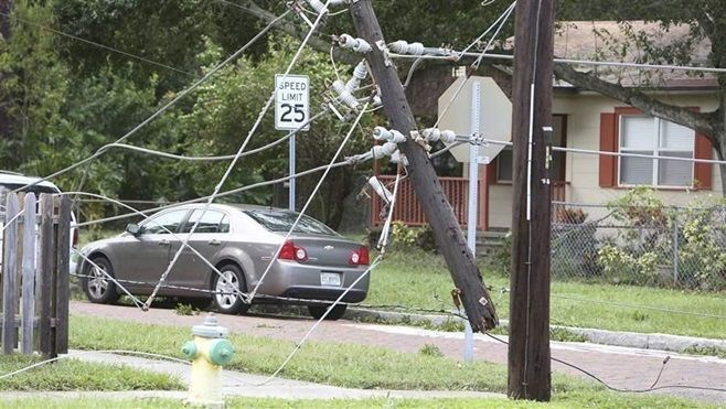 Snapped electric poles in the Tampa Bay area following Hurricane Irma. Power outages can be life-threatening for people who r