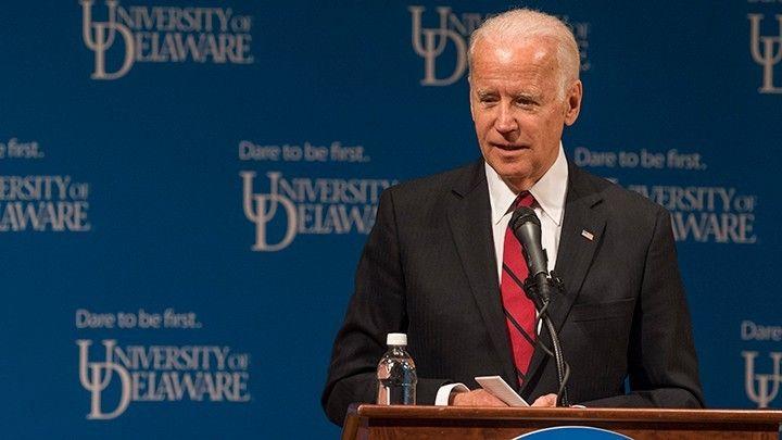 Vice President Joe Biden speaking at a University of Delaware event.