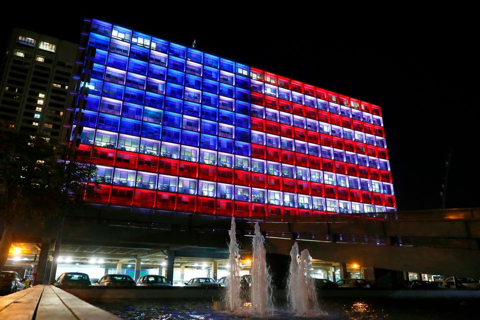 On Oct. 2, 2017, Tel Aviv city hall is lit up like the American flag to honor the victims of a mass shooting in Las Vegas.