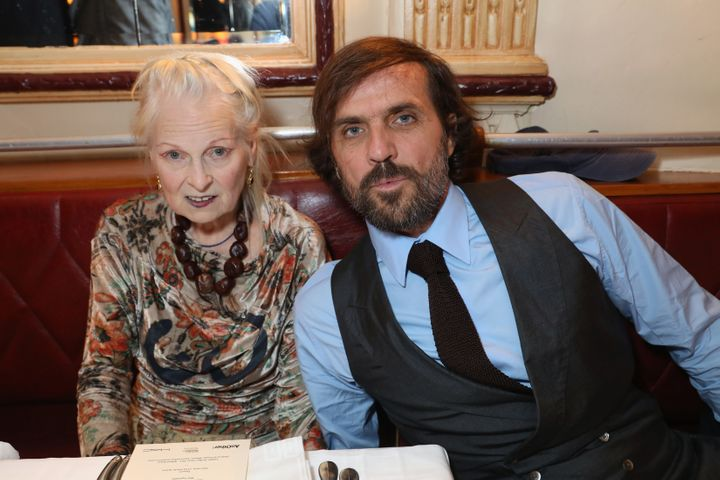 Andreas Kronthaler and Vivienne Westwood attend a dinner in Paris on Sept. 30.