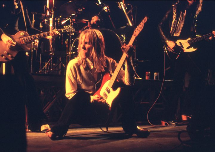 Tom Petty performs live onstage at the Hammersmith Odeon before a concert on May 14, 1977.