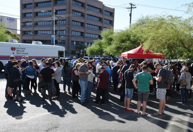 People gather to donate blood at a special United Blood Services drive at a University Medical Center...