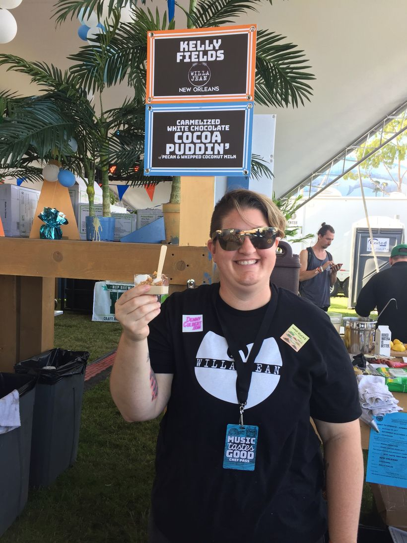 Chef Kelly Fields of Willa Jean served her popular caramelized white chocolate cocoa puddin'.