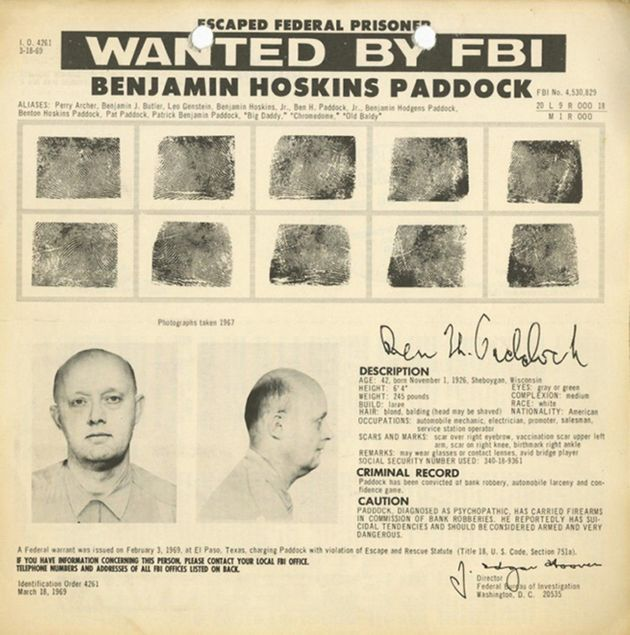 An FBI wanted poster for escaped bank robber Benjamin Hoskins Paddock aka 'Big Daddy' and 'Old Baldy'...