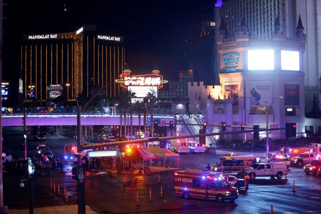 Las Vegas Metro Police and medical workers stage in the intersection of Tropicana Avenue and Las Vegas...