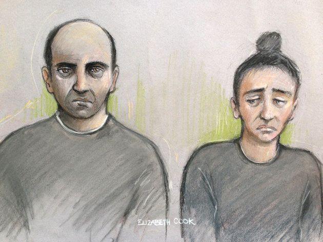 Court artist sketch of Ouissem Medouni and his partner Sabrina