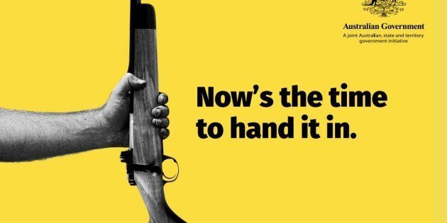 An Australian government advert for the gun amnesty which finished on September