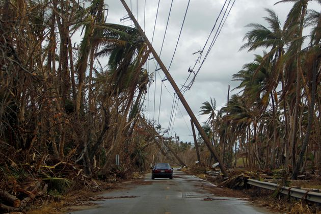 A car drives under tilted power line poles in Humacao, Puerto Rico, in the aftermath of Hurricane