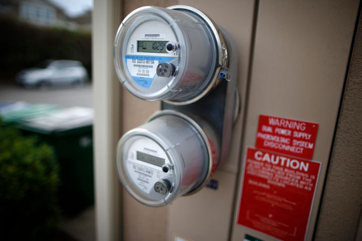 A smart electricity meter outside a home in Irvine, California.