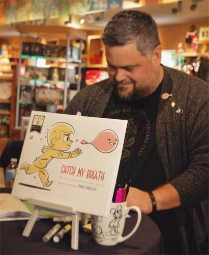 """Paul Briggs at a signing for his new picture book, """"Catch  My Breath"""""""