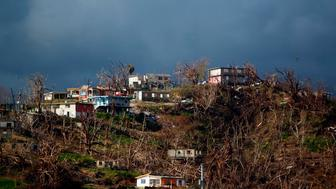 Damaged houses are seen on top of a hill in the aftermath of Hurricane Maria in Yabucoa, Puerto Rico on October 2, 2017.   President Donald Trump strenuously defended US efforts to bring relief to storm-battered Puerto Rico, even as one island official said Trump was trying to gloss over 'things that are not going well,' two weeks after devastating Hurricane Maria left much of the island without electricity, fresh water or sufficient food. / AFP PHOTO / Ricardo ARDUENGO        (Photo credit should read RICARDO ARDUENGO/AFP/Getty Images)