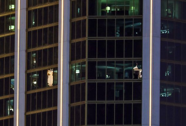 Police say Stephen Paddock smashed the windows of his suite to launch a barrage of gunfire on crowds
