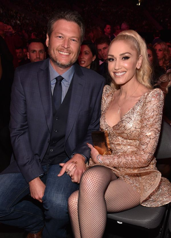 With Blake Shelton at the 2017 Billboard Music Awards on May 21, 2017 in Las Vegas, NV.