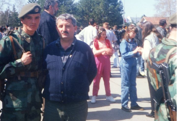 Freddy Lukovic with his uncle in Leskovac, Serbia, after a month of being in the military in 1998.