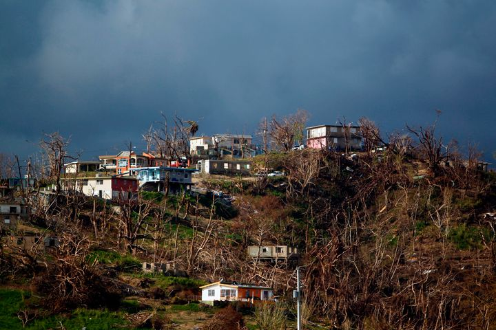 Damaged houses are seen atop a hill in the aftermath of Hurricane Maria in Yabucoa, Puerto Rico, on Oct. 2, 2017.