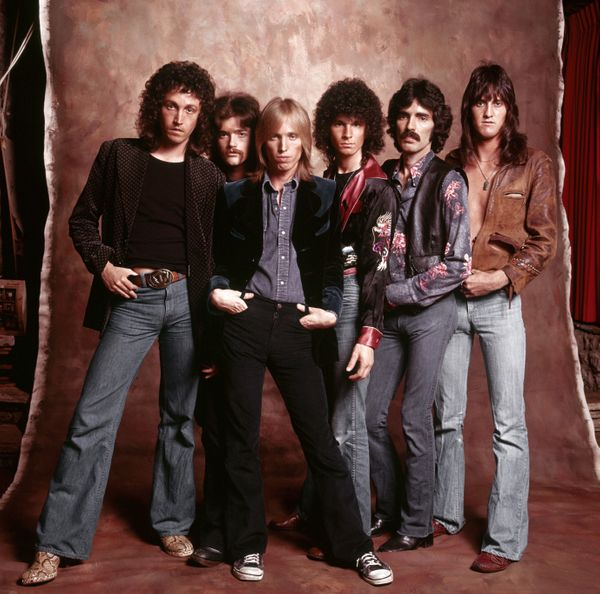 Tom Petty and the Heartbreakers pose for a portrait on July 15, 1976 in Los Angeles, CA.