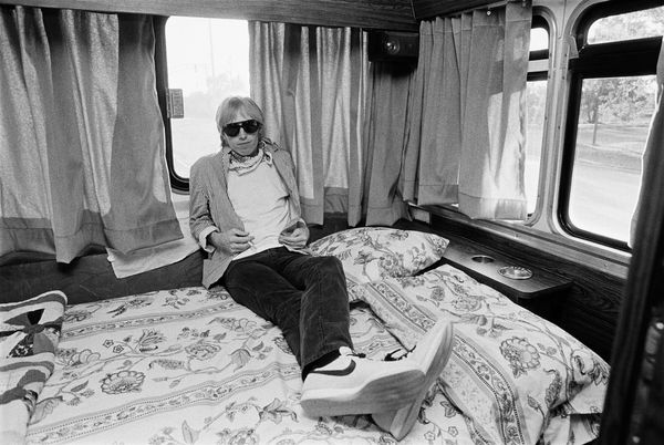 Relaxing on his tour bus between 1981 concert performances in Chicago, IL.