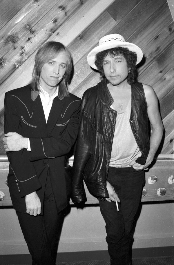 "Bob Dylan and Tom Petty pose for a portrait at Westwood One studios where they are promoting their ""True Confessions"" tour.&n"