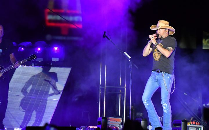 Jason Aldean performing at the Route 91 Harvest country music festival in Las Vegas on Sunday beforethe mass shooting o