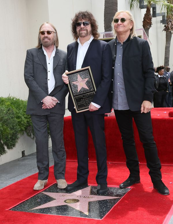 With Jeff Lynne and Joe Walsh as Lynne is honored with a star on the Hollywood Walk of Fame on April 23, 2015 in Ho