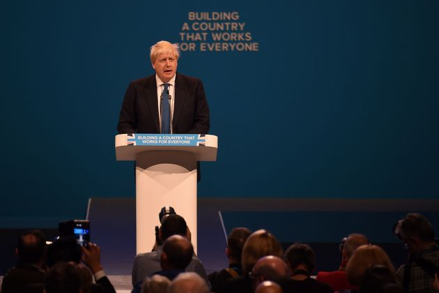 Brexy Beast:Foreign Secretary Boris Johnson delivers his speech on the third day of the Conservative...