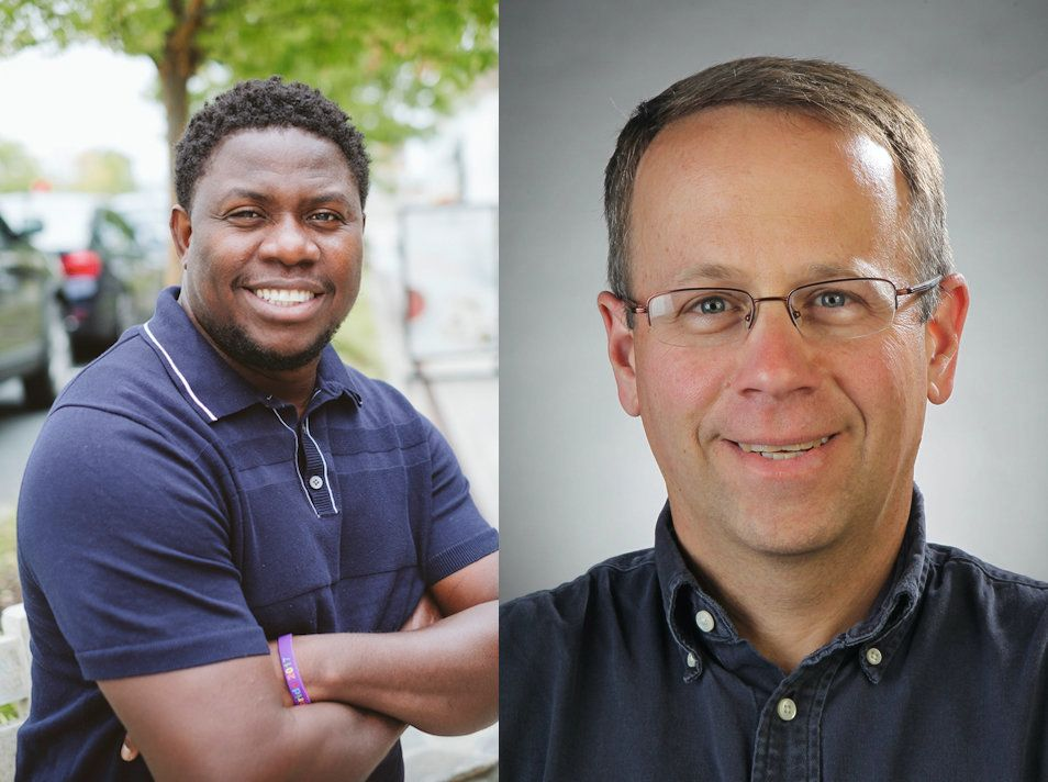 A photo of Eze Amos (left) by Eric Kellyand a photo of Robert Cohen (right) by Stephanie Cordle Frankel.