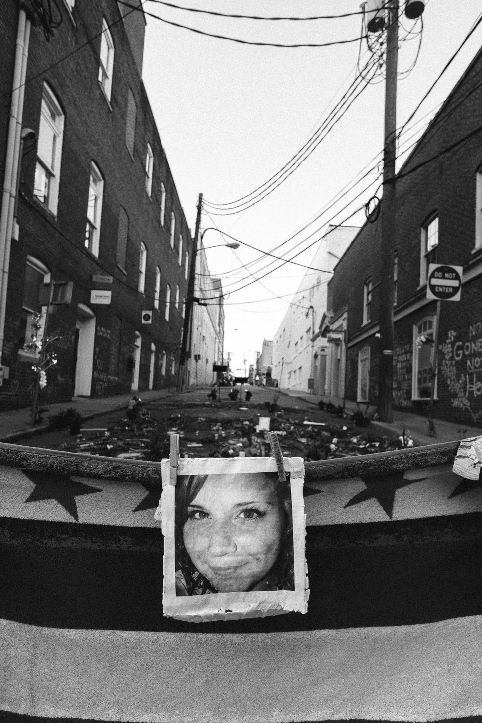 A photo of a memorial to Heather Heyer.