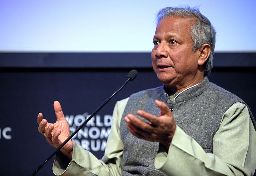 Muhammad Yunus speaks at the World Economic Forum in Davos, Switzerland.