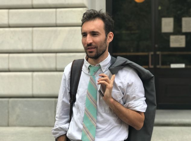 Alec Karakatsanis, the founder and executive director of Civil Rights Corps, outside the 5th U.S. Circuit Court of Appeals la