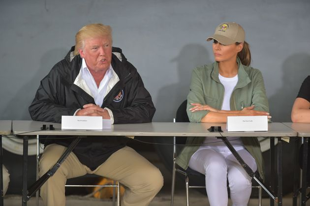 Donald Trump and Melania Trump attend a meeting withPuerto Rico