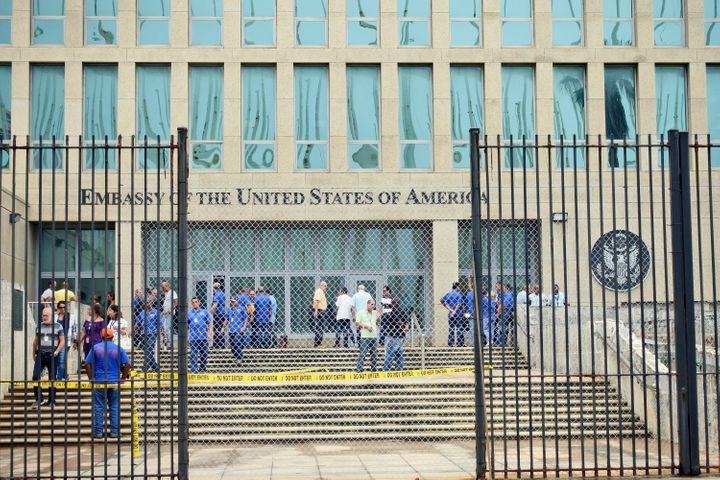 Personnel gather at the U.S. Embassy in Cuba on Sept. 29, 2017, in Havana.