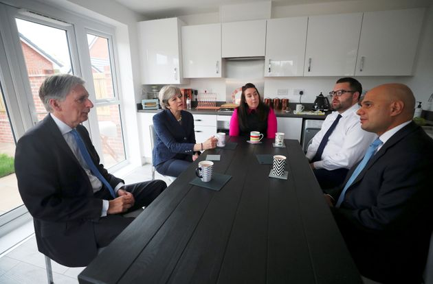 Theresa May and Chancellor Philip Hammond and Sajid Javid visit a 'Help to Buy' home in