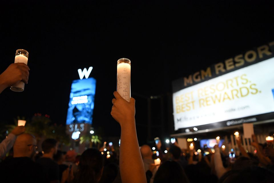 A vigil on the Las Vegas Strip for the victims of the Route 91 Harvest country music festival