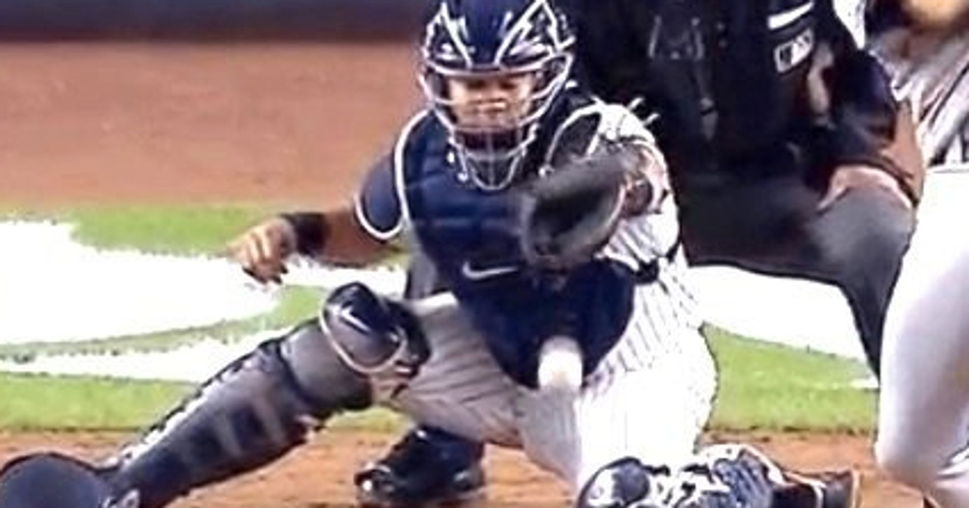 ouch yankees catcher gary sanchez got drilled in the nuts on live tv huffpost. Black Bedroom Furniture Sets. Home Design Ideas