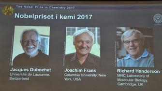 The names of Jacques Dubochet, Joachim Frank and Richard Henderson are displayed on the screen during the announcement of the winners of the Nobel Prize in Chemistry 2017, in Stockholm, Sweden, October 4, 2017.  TT News Agency/Claudio Bresciani  via REUTERS      ATTENTION EDITORS - THIS IMAGE WAS PROVIDED BY A THIRD PARTY. SWEDEN OUT. NO COMMERCIAL OR EDITORIAL SALES IN SWEDEN