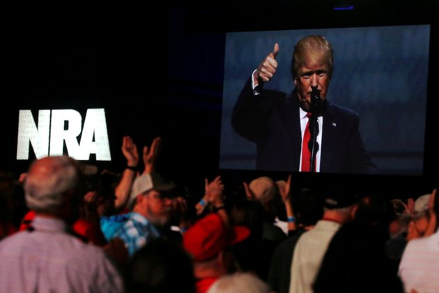 Donald Trump addresses the NRA's Leadership Forum in Atlanta, Georgia in